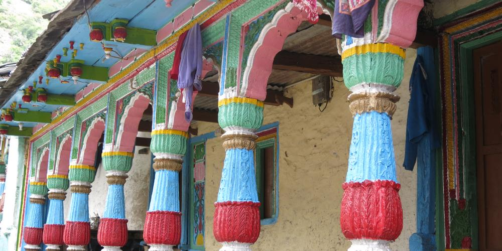 Painted pillars of a house in Uttarakhand, India