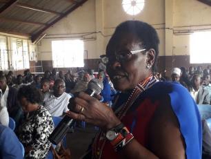 Kenya - Budget Champion Penina Tombo at a public participation forum