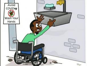 Cartoon of disabled person trying to wash hands but tap is too high (source:Mdogo)