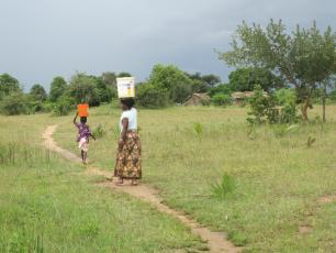 Fetching water in a rural location in Tanzania