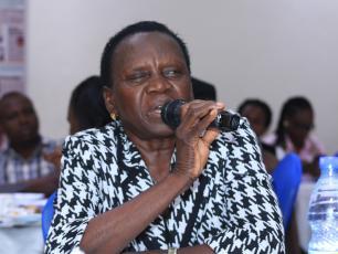 MP Margaret Baba Diri speaking at the breakfast meeting