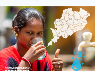Women drinks glass of water - Odisha Drink from Tap Mission Communication Strategy cover