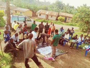 Community mapping on sanitation in village in Uganda
