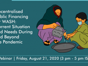 Webinar picture - mother pouring water on child's hands - Decentralised Public Financing for WASH